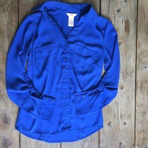 Candies Blue Button up blouse XS